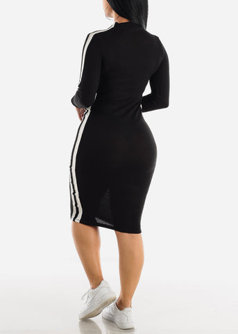 Sporty Black Bodycon Thin Sweater Dress