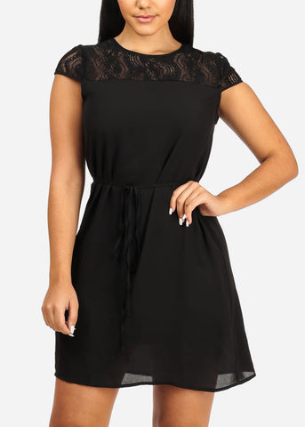 Image of Floral Lace Chiffon Dress