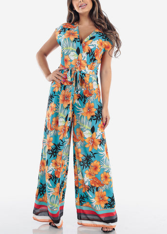 Image of Sexy Lightweight Short Sleeve Peach And Light Blue Flower Tropical Print Lightweight Jumpsuit