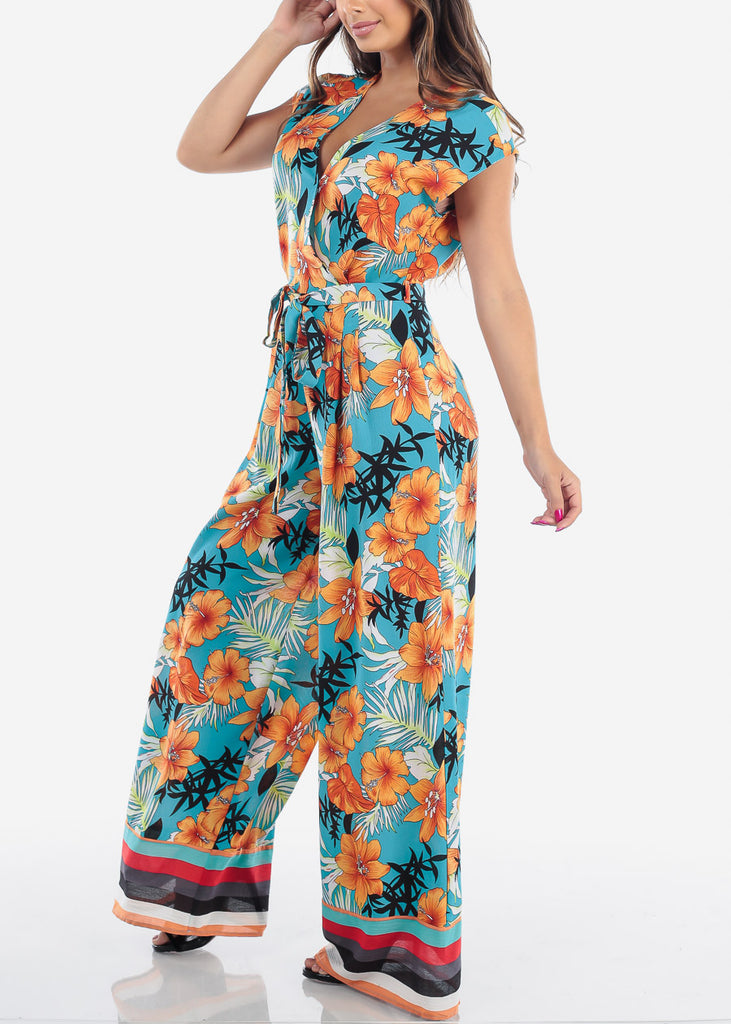 Sexy Lightweight Short Sleeve Peach And Light Blue Flower Tropical Print Lightweight Jumpsuit