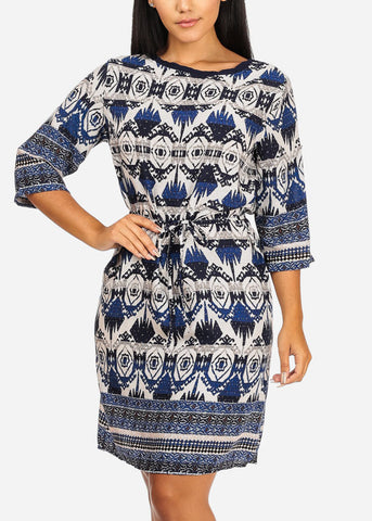 Cotton Blue Loose Fit Dress