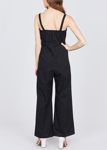 Side Button Detail Stripe Black Jumpsuit