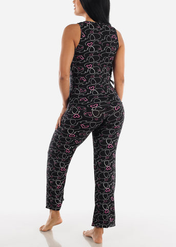 Image of Black Printed Cami & Pants (2 PCE PJ SET)