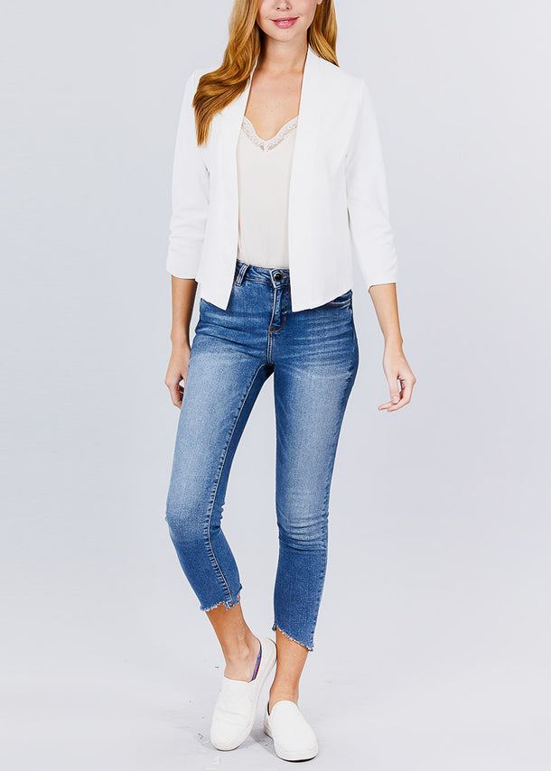 Three Quarter Off White Open Front Blazer