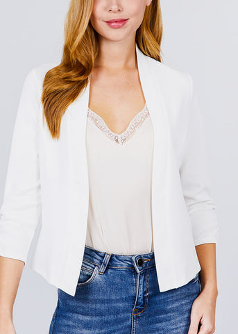 Image of Three Quarter Off White Open Front Blazer