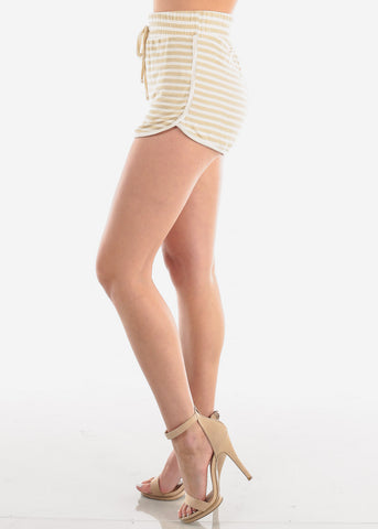 Image of Women's Junior Ladies Casual Cute Must Have High Waisted Super Soft Tan And White Stripe Shorty Summer Short Shorts