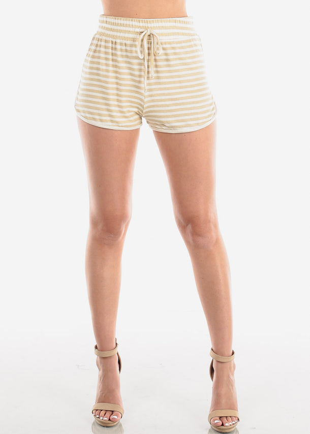 Women's Junior Ladies Casual Cute Must Have High Waisted Super Soft Tan And White Stripe Shorty Summer Short Shorts