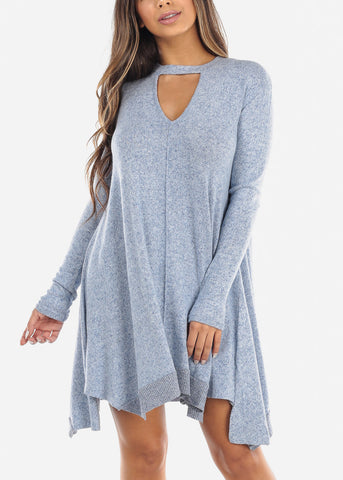 Image of Blue Keyhole Sweater Dress