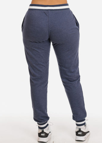 Image of Navy Drawstring Waist Jogger Pants