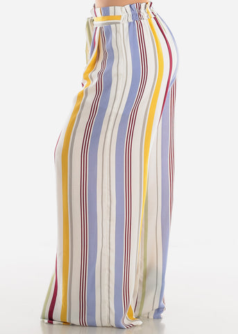 White Multicolor Striped Palazzo Pants
