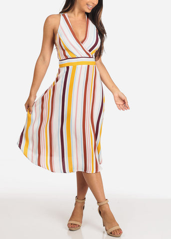 Image of Women's Junior Ladies Lightweight Cute Trendy Stylish Wrap Front V  Neckline Stripe Midi Dress