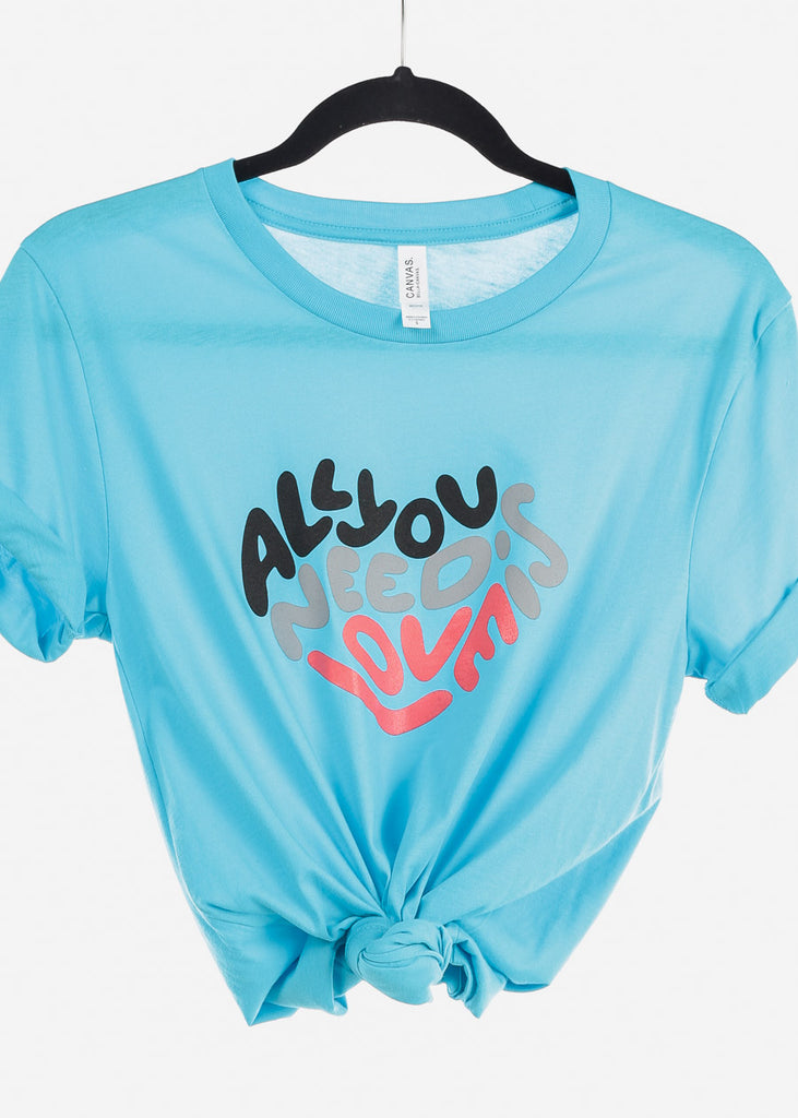 "Aqua Graphic Top ""All You Need Is Love"""