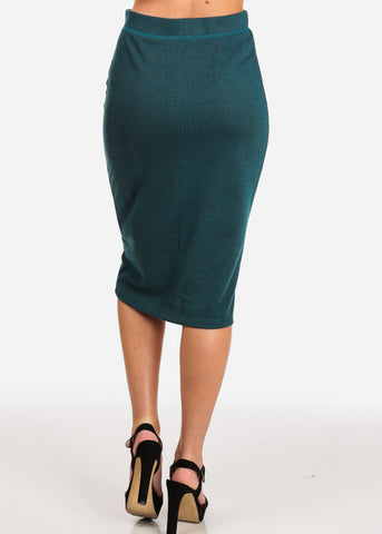 Image of Women's Junior Ladies Professional Business Office Career Wear Printed Teal Pencil Midi Skirt