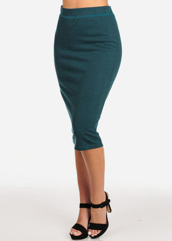 Women's Junior Ladies Professional Business Office Career Wear Printed Teal Pencil Midi Skirt