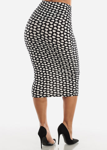 Image of Printed Black Pencil Midi Skirt