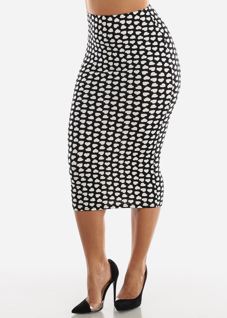 Printed Black Pencil Midi Skirt