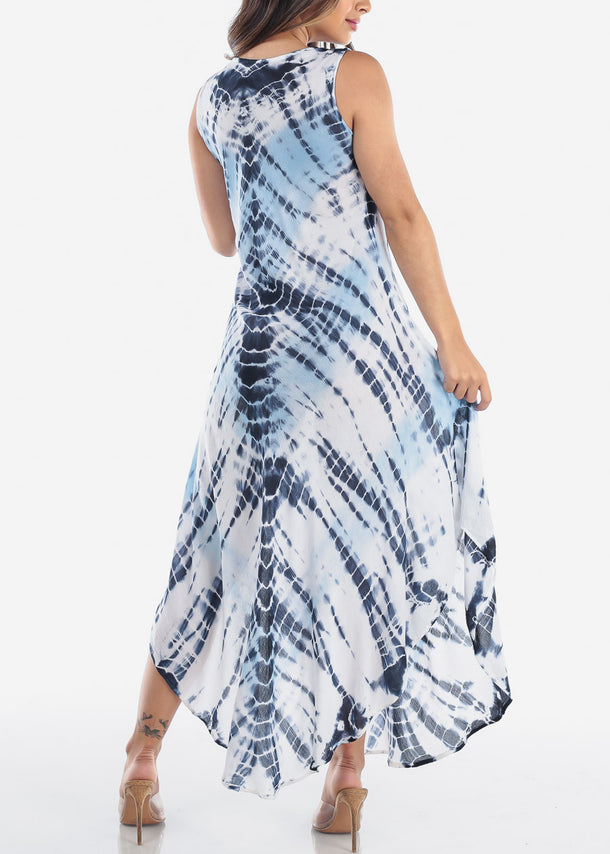 Lightweight Blue Tie Dye Maxi Dress