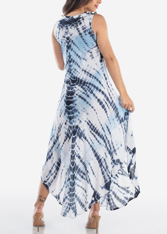 Women's Junior Ladies Summer Vacation Sleeveless Racerback Tie Dye Round Hem Blue Maxi Dress