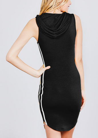 Sleeveless Black Hoodie Dress