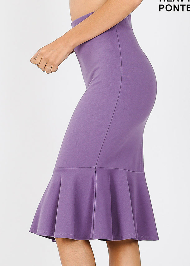 High Rise Lilac Peplum Skirt