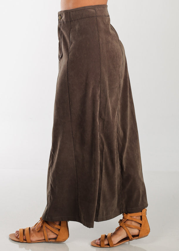 High Rise Olive Maxi Skirt