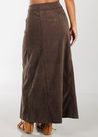1 Button Zip Up High Waisted Long Olive Maxi Skirt For Women Ladies Junior On Sale Fashionable New 2019