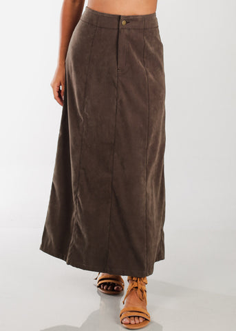 Image of 1 Button Zip Up High Waisted Long Olive Maxi Skirt For Women Ladies Junior On Sale Fashionable New 2019