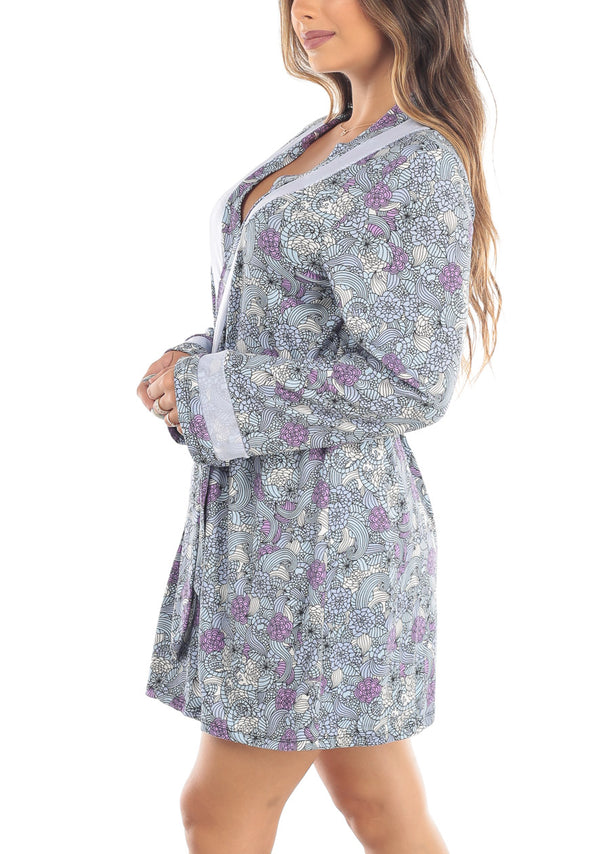 Blue Multicolor Floral Print Robe