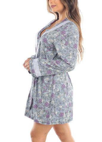Long Sleeve Front Tie Front Blue Multi Color Floral Sleepwear Robe