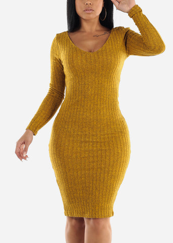 Mustard Bodycon Ribbed Sweater Dress