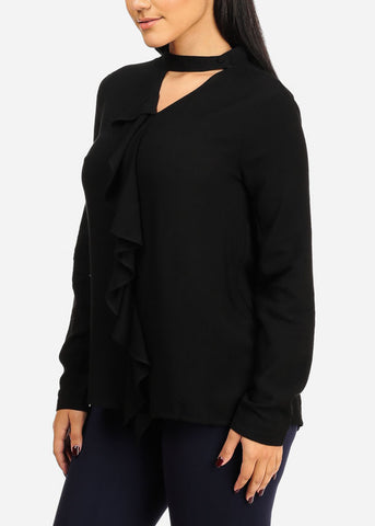 Ruffle Closure Black Top