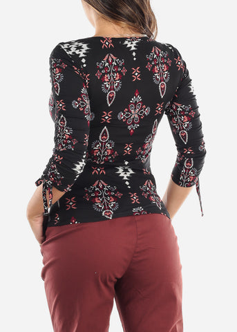 Black Floral Print Ruched Sleeve Top