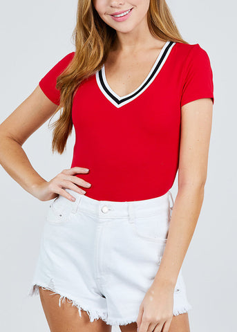 Image of Stripe V Neckline Red Top