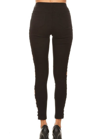 Black Side Cutout Jeggings