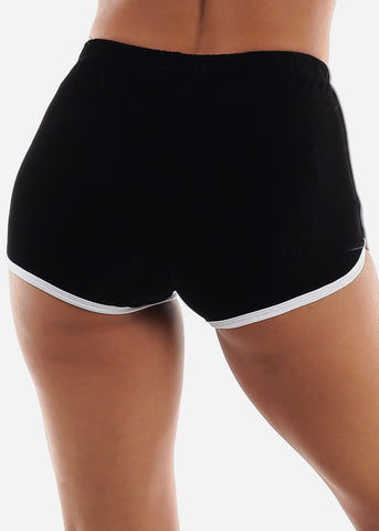 Image of Black Velvet Dolphin Hem Shorts