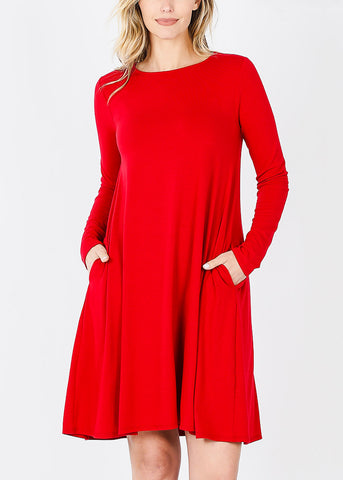 Red Long Sleeve Flare Dress