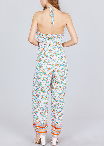 Image of Floral Print Halter White Chiffon Jumpsuit