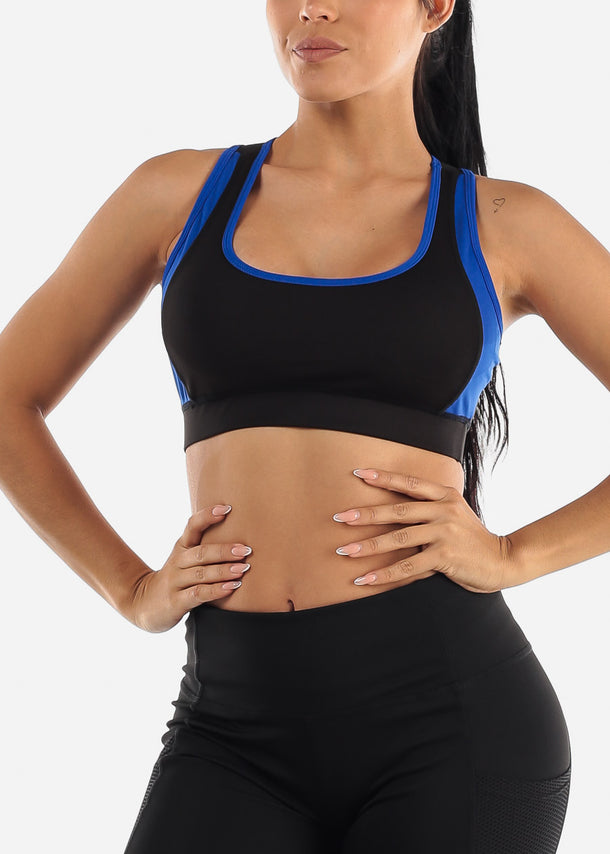 Royal Blue & Black Sports Bra
