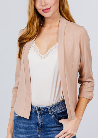 Image of Three Quarter Khaki Open Front Blazer