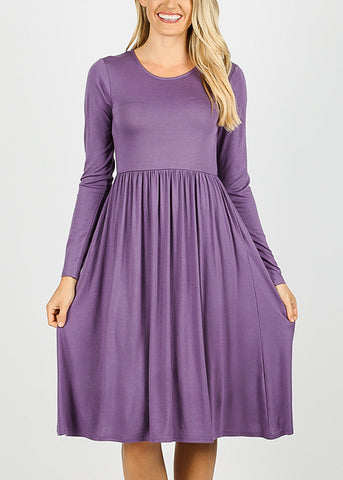 Lilac Grey Long Sleeve Waist Shirring Dress