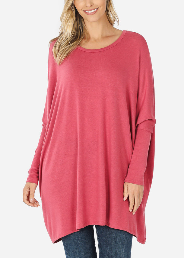 Pink Long Sleeve Dolman Tunic