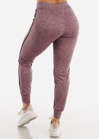 Heather Mauve Side Stripe Joggers