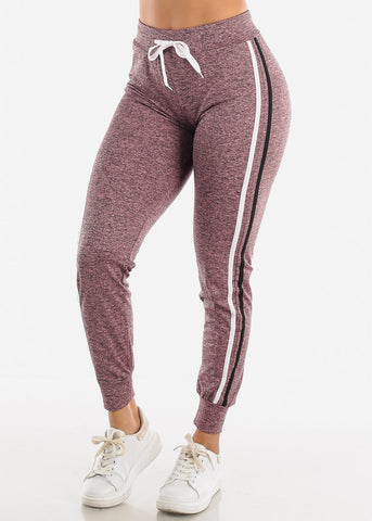 Image of Heather Mauve Side Stripe Joggers