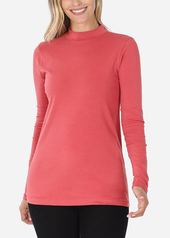 Cotton Mock Neck Dusty Rose Top