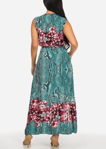 Printed Teal Trendy Maxi Dress