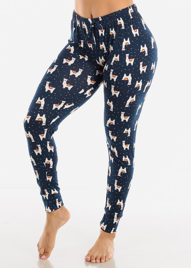 High Waisted Navy Pajama Pants