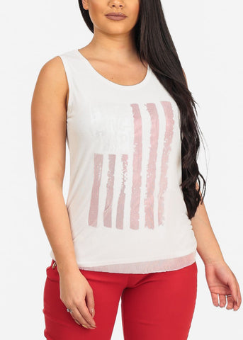 Trendy Beach American Flag Free Young Wild Sleeveless Stretchy Modern Trend White Fishnet Fourth of July White Top
