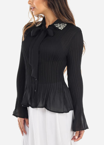 Pearl Collar Pleated Black Blouse
