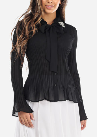 Image of Pearl Collar Pleated Black Blouse