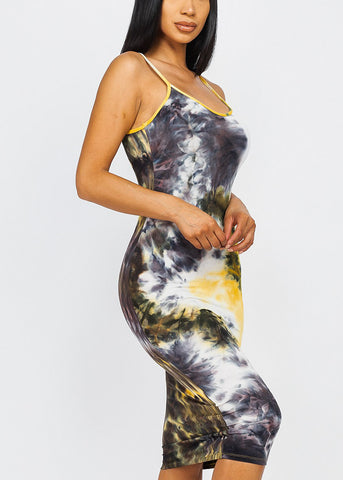 Mustard Tie Dye Sleeveless Dress